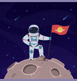 astronaut on moon spaceman with flag in vector image