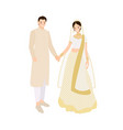 beautiful indian couple bride and groom in vector image vector image