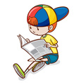 Boy and newspaper vector image vector image
