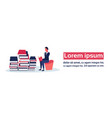 businessman sitting reading book stack successful vector image
