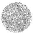 cartoon doodles cosmetics frame design vector image vector image