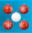 christmas tree ball ornament 4 red and 1 white set vector image vector image