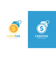 coin and tag logo combination unique cash and vector image