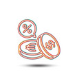 coins money line icon cashback service vector image vector image
