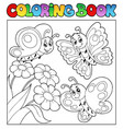 coloring book with butterflies 3 vector image