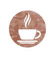 Cup of coffee icon with pixel print halftone dots vector image