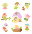 cute little forest fairies set lovely fairies vector image