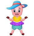 cute pig cartoon raising his arms vector image