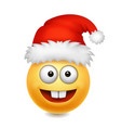 cute santa claus smile emoji icon emoticon vector image vector image