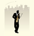 elegant man silhouette playing saxophone skyline vector image vector image