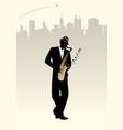 elegant man silhouette playing saxophone skyline vector image