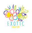 exotic logo original design with tropical flowers vector image vector image