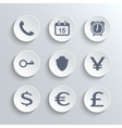 Finance icons set - white round buttons vector image vector image