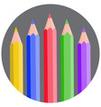 five color pencils rounded gray circle icon vector image