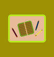 flat icon on background notebook pencil table vector image vector image