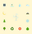 flat icons wood electric mill sun power and vector image vector image
