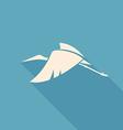 fly white stork logo sign on blue background vector image vector image