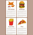 fried chicken and french fries vector image vector image