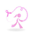 girl and pink ribbon cancer awareness logo vector image