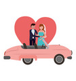 groom and bride with car wedding day love vector image vector image