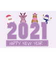 happy new year santa snowman reindeer penguin vector image vector image