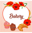 heart shaped frame with poppies wheat and pastries vector image vector image