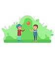 kids playing with inflatable ball children nature vector image