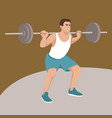 man raises bar flat vector image vector image