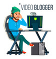 man video blogger gaming stream banner vector image