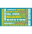 Massachusetts state cities list vector image