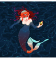 Mermaid in the water with a piece of gold vector image