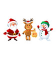 merry christmas santa claus snowman and reindeer vector image vector image