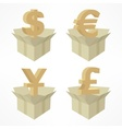 Money signs in boxes vector image