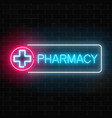 neon pharmacy glowing signboard on brick wall vector image