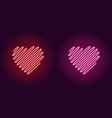 neon wavy heart glowing sign icon vector image