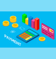 online banking stack bitcoins card payment vector image vector image