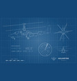 outline blueprint military helicopter vector image vector image