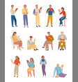 people books read large set characters carefully vector image vector image