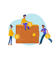 people carrying gold coins in bitcoin walletflat vector image vector image