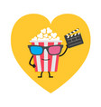 popcorn box in 3d glasses character with face vector image vector image