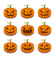 pumpkin halloween with spooky and funny face vector image