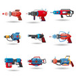 set cartoon retro space blaster ray gun laser vector image