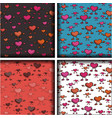 set of four patterns with hearts vector image