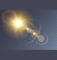 shining yellow sun with lens flare vector image vector image