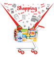 shopping on supermarket sale flat concept vector image
