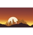 Silhouette of city with big moon vector image vector image