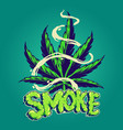 smoke cannabis leaves with clouds vector image