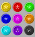 snow icon sign symbol on nine round colourful vector image vector image