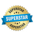 superstar 3d gold badge with blue ribbon vector image vector image