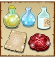 Three bottles of potion and wax vector image vector image